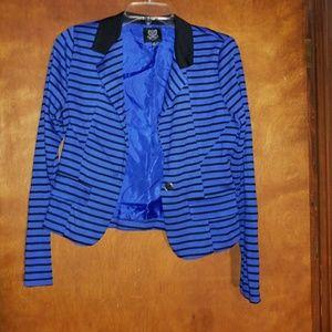 Blue and black stripe blazer